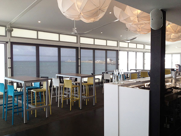 Outdoor blinds used for glare reduction at Bathers Beach House Fremantle