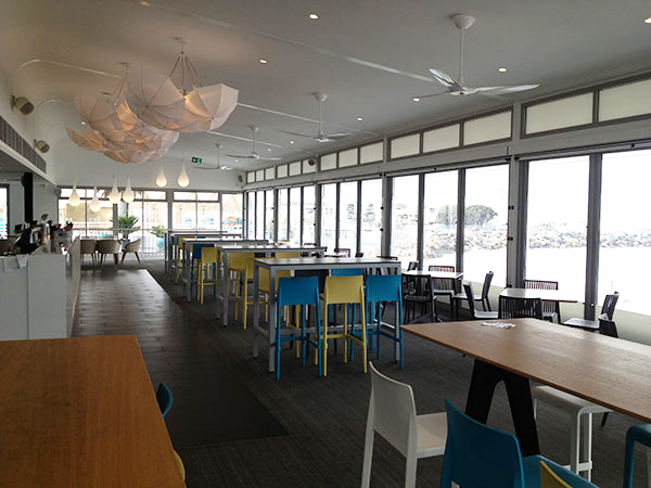Outdoor blinds colour matched at Bathers Beach House Fremantle