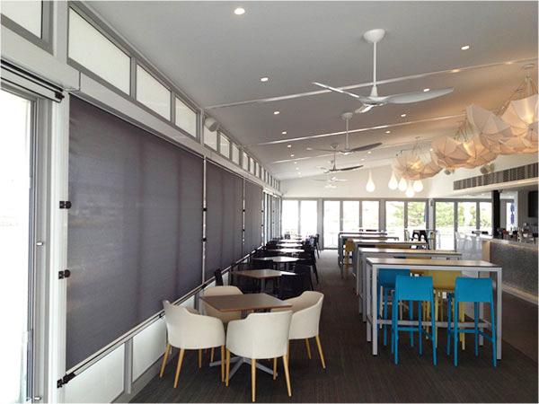 Sleek design outdoor blinds at Bathers Beach House Fremantle